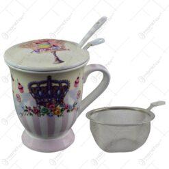 Cana realizata din ceramica cu infuzor - Design cu coroana