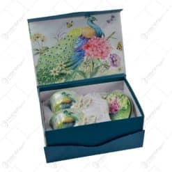 Set 2 cest cu farfurii realizate din ceramica in cutie decorativa - Design Paun si Flori