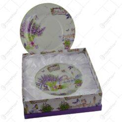 Set 7 farfurii realizate din ceramica in cutie cadou - Design lavanda
