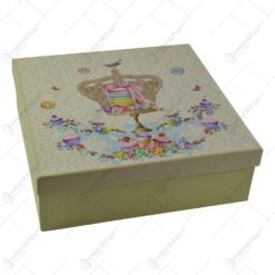 Set 7 farfurii realizate din ceramica in cutie cadou - Design cu coroana