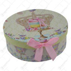 Set 6 farfurii pentru desert realizate din ceramica in cutie cadou - Design cu coroana