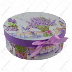 Set 6 farfurii pentru desert realizate din ceramica in cutie cadou - Design lavanda