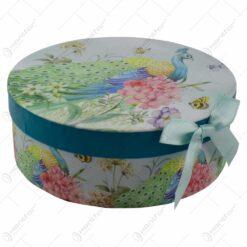 Set 6 farfurii realizate din ceramica in cutie decorativa - Design Paun & Trandafiri