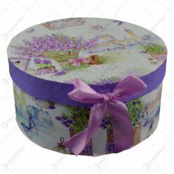 Set ceasca cu farfurie realizata din ceramica in cutie cadou - Design lavanda