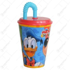Pahar realizat din material plastic - 16 cm - Design Mickey Mouse - Cu capac si pai