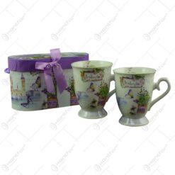 Set 2 cani realizate din ceramica in cutie cadou - Design lavanda