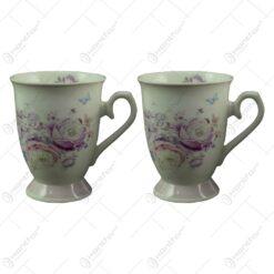 Set 2 cani realizate din ceramica in cutie cadou - Design cu trandafiri mov