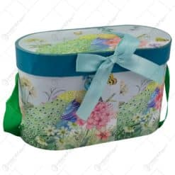 Set 2 cani realizate din ceramica in cutie decorativa - Design Paun si Flori