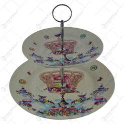 Platou realizat din ceramica cu 2 etaje in cutie cadou - Design cu coroana