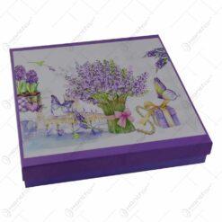 Platou realizat din ceramica cu 3 etaje in cutie cadou - Design lavanda