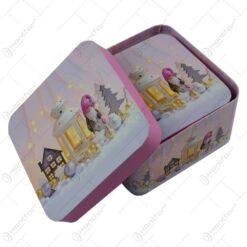 Set 3 cutii patrate pentru cadouri - Design Craciun - Diverse modele (Model 1)