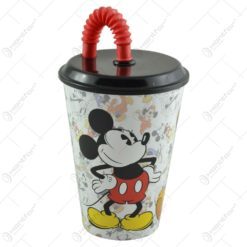 Pahar pentru copii cu capac si pai realizat din plastic - 430 ml - Design Mickey Mouse
