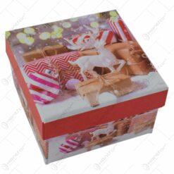 Cutie patrata pentru cadouri - Design Craciun - Diverse modele