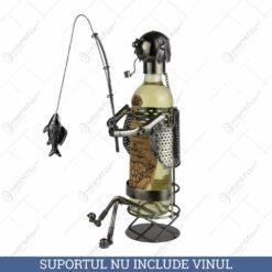 Suport pentru vin realizat din metal - Pescar (Tip 1)