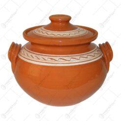 Oala de sarmale din ceramica decorat cu motive traditionale 9 L