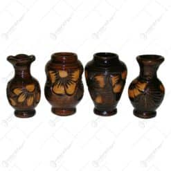 Vaza tip cupa din ceramica lacuit. gravat si pictat motive florale - MIc