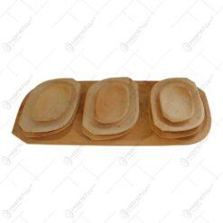 Set vesele din lemn de arin pentru servirea mesei (9+1)