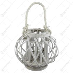 Felinar realizat din ratan cu candela - Rotund 21 cm