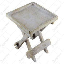 Suport decorativ pentru ghiveci realizat din lemn in forma de scaun - Alb (Model 1)
