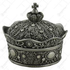 Caseta bijuterii din metal in forma de coroana cu capac si ornament de cruce pe varf - Mare - Elegant Metal