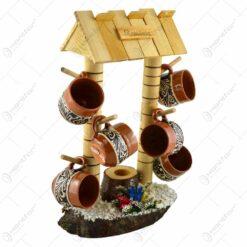 Suport canite cu agatatoare din lemn. in forma de fantana cu acoperis si talpa - 6 canite - Diferite tipuri