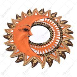 Oglinda realizata din sticla si pictat cu motive spirituale - Soarele si Luna (Mare)