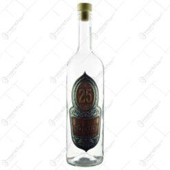 """Sticla pentru bauturi decorata cu placuta metalica - Design inscriptionat """"25...Szeretettel"""""""