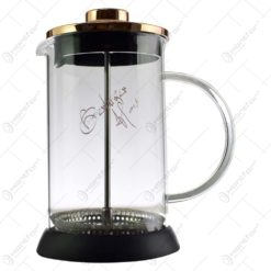 Infuzor ceai/cafea realizat din sticla si inox - Rosegold