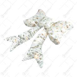 Decoratiune de craciun realizata din sarma si fire textile in forma de funda - Cu leduri