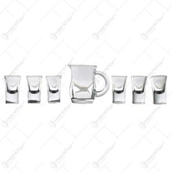 Set pentru palinca 6 pahare tip shot cu cana servire (Model 1)
