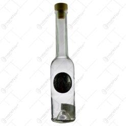 Sticla de tuica cu gatul inalt. cu decor embosat - Prune