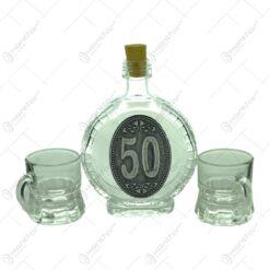 Set plosca mica si pahare de tuica cu maner din sticla. cu decor embosat - 50