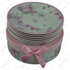 Set farfurii desert realizate din ceramica in cutie cadou - Design Flori de primavara - Roz