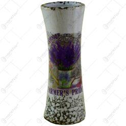Vaza ceramica decorata cu suport si ghivece cu flori - Lavanda Casuta (Model 4)