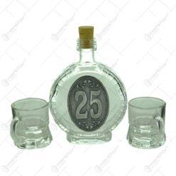 Set plosca mica si pahare de tuica cu maner din sticla. cu decor embosat - 25