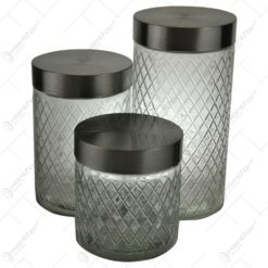 Set 3 recipienti cu capac realizate din sticla