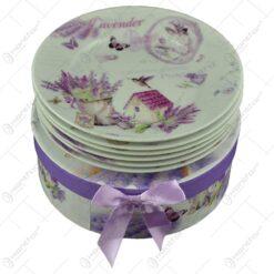 Set farfurii desert realizate din ceramica in cutie cadou - Design Lavanda Casuta