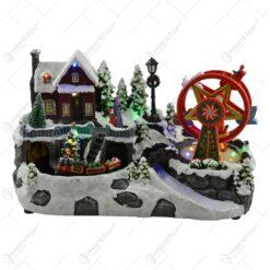 Decoratiune muzicala cu led pentru sarbatorile de iarna realizata din rasina - Design scena de iarna - Diverse modele (Model 2)