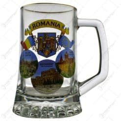 Halba din sticla cu grafica - Cladiri faimoase din Romania