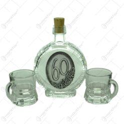 Set plosca mica si pahare de tuica cu maner din sticla. cu decor embosat - 60