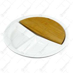Tava realizata din ceramica cu capac din bambus - Design Contemporan