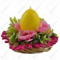 Coroana decorativa pentru masa - Design cu flori si lumanare in forma de ou - Diverse modele