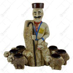 Set pentru vin realizat din ceramica - Design Ciobanas (Model 1)