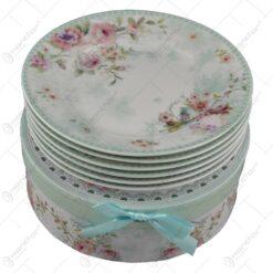 Set farfurii desert realizate din ceramica in cutie cadou - Design Rose - Verde