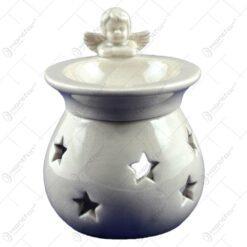 Candela realizata din ceramica cu suport pentru uleiuri parfumate - Inger - Gri