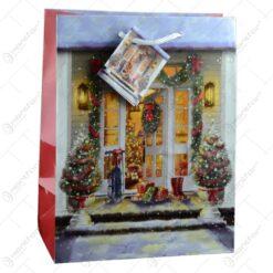 Punga pentru cadou decorata cu peisaj de craciun - Design craciun - Medie
