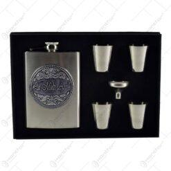 Set plosca cu palnie si 4 pahare din inox is cutie eleganta cu captuseala. cu decor embosat - La multi ani