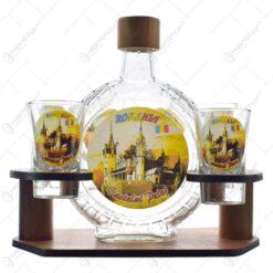 Suport sticla din lemn pentru o sticla si 6 pahare de tuica cu motive secuiesti - Szekelyfold - Diferite modele