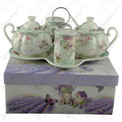 Set 4 recipiente pentru condimente pe suport realizate din ceramica - Design floral (Model 2)