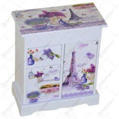 Cutie pentru bijuterie realizata din lemn in forma de dulapior - Lavanda Casuta